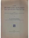 Über Begriff und Aufgaben der deutschen Philologie